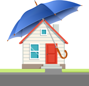 An illustration of a white house covered by a large blue umbrella