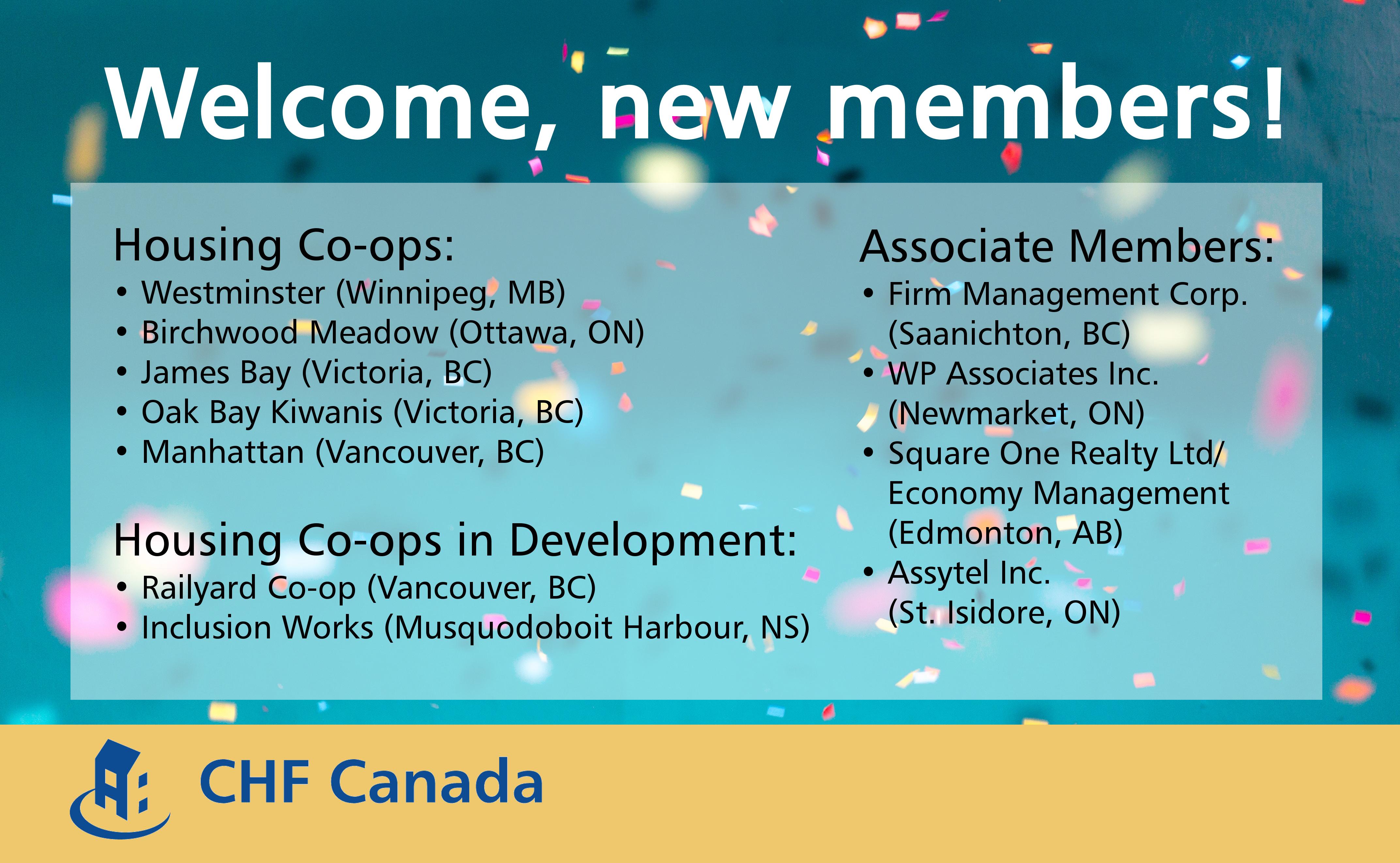 Welcome, new CHF Canada members!