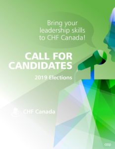 """The cover of a flyer, with a stylized illustration of a person speaking, and text reading """"Call for Candidates"""""""