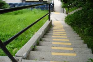 A view down a set of concrete steps