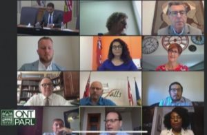 A screenshot shows a grid of people speaking on Zoom, including CHF Canada staff and MPPs