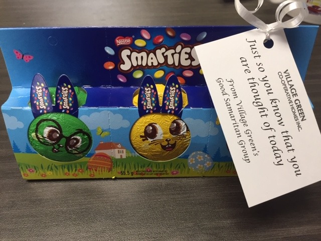 """Easter chocolates with a note reading """"Just so you know we're thinking of you"""""""