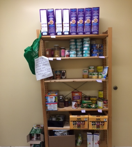 A bookcase filled with food items