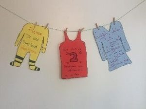 Colourful signs in the shape of clothing tell members in multiple languages not to overload the laundry machines.