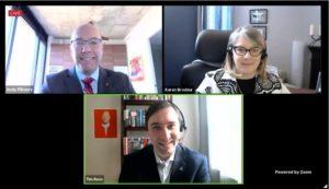 A Zoom screenshot showing Andy Fillmore, Karen Brodeur, and Tim Ross
