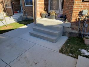 Newly built concrete front steps