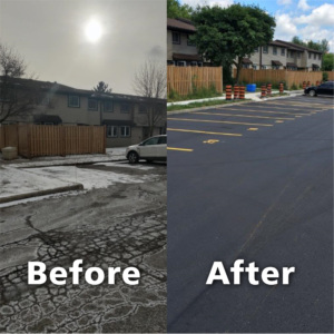 Before and images of a parking lot that was redone