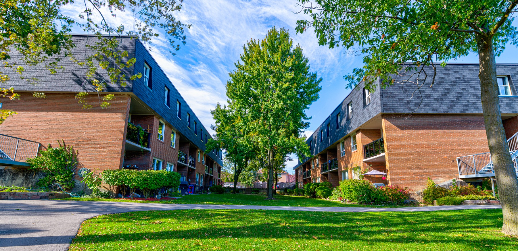 Two rows of low-rise brick buildings, with green grass and a bright blue sky