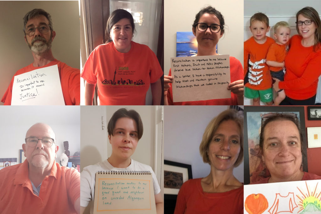 A collage of photos of CHF Canada staff wearing orange and/or holding up signs about what reconciliation means to them